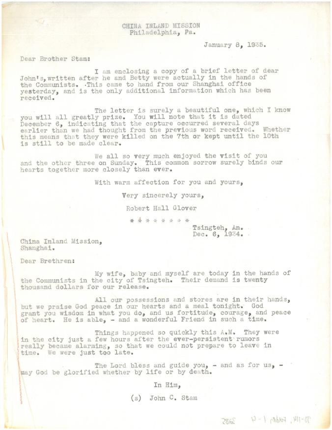 Letter to Cornelius Stam